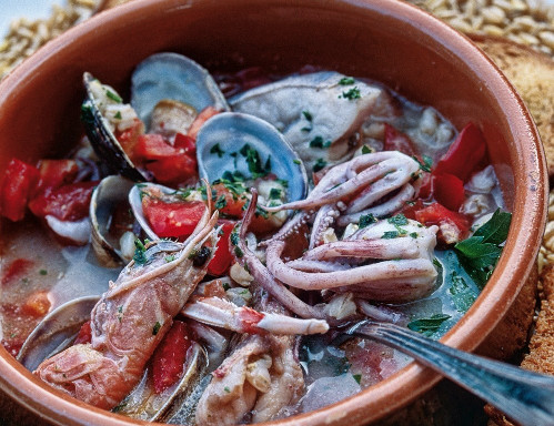 Italy, Apulia, Lecce district, Salentine Peninsula, Salento, Uggiano la Chiesa, Food, Gattamora hotel, fish soup