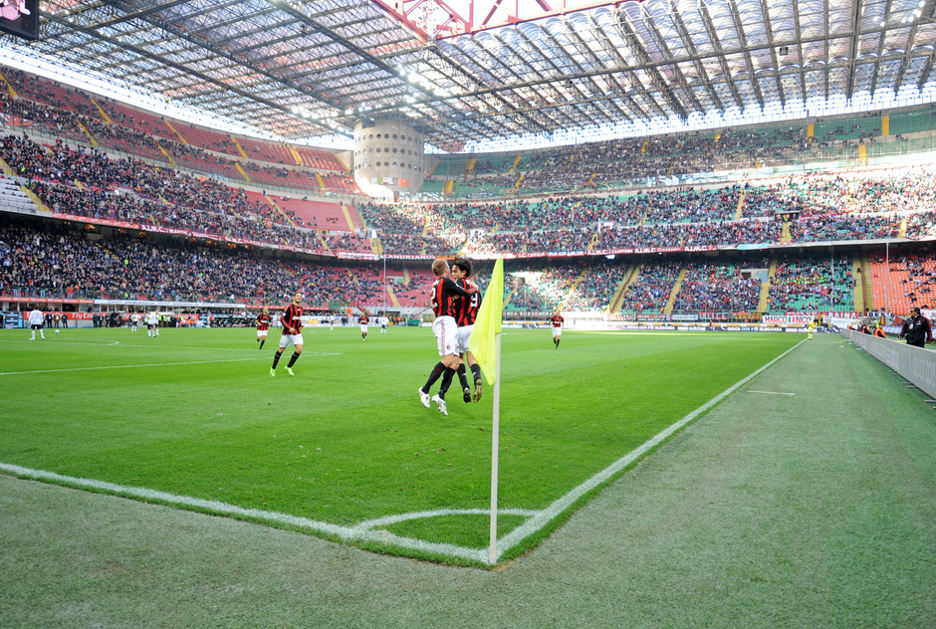 Игроки «Милана» празднуют забитый гол в одном из мачтей 2008 года. Фото © Paolo Bona / Shutterstock.com
