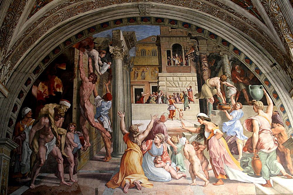 «Пожар в Борго», Рафаэль и ученики, около 1514