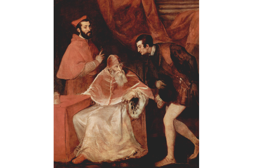 Папа Павел III с Алессандро и Оттавио Фарнезе. 1545. Музей Каподимонте, Неаполь