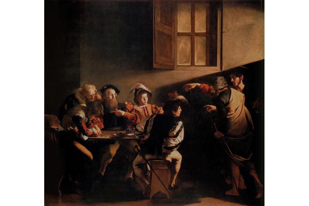 Caravaggio, La Vocazione di San Matteo, 1599-1600, San Luigi dei Francesi, Roma