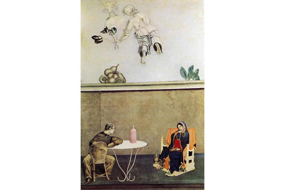 Карло Гуаренти, «Мадонна и я (Вечер в Антверпене)», 1975, казеиновая краска, дерево, см 250 x 160, частная коллекция