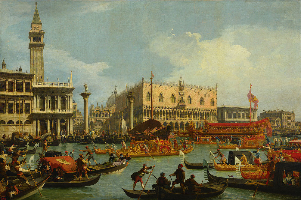 Canaletto - Bucentaur's return to the pier by the Palazzo Ducale @ Google Art Project.jpg