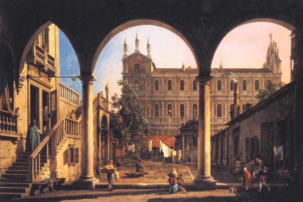 Canaletto, Capriccio of the Scuola di San Marco from the Loggia of_the Palazzo Grifalconi-Loredan @wikimedia.commons