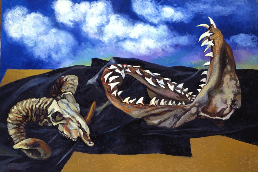 Renato Guttuso, Bucranio, mandibola di pescecane e drappo nero contro il cielo, 1984 Olio su tela, cm 75,5x109 Roma, Archivi Guttuso © Renato Guttuso by SIAE 2016