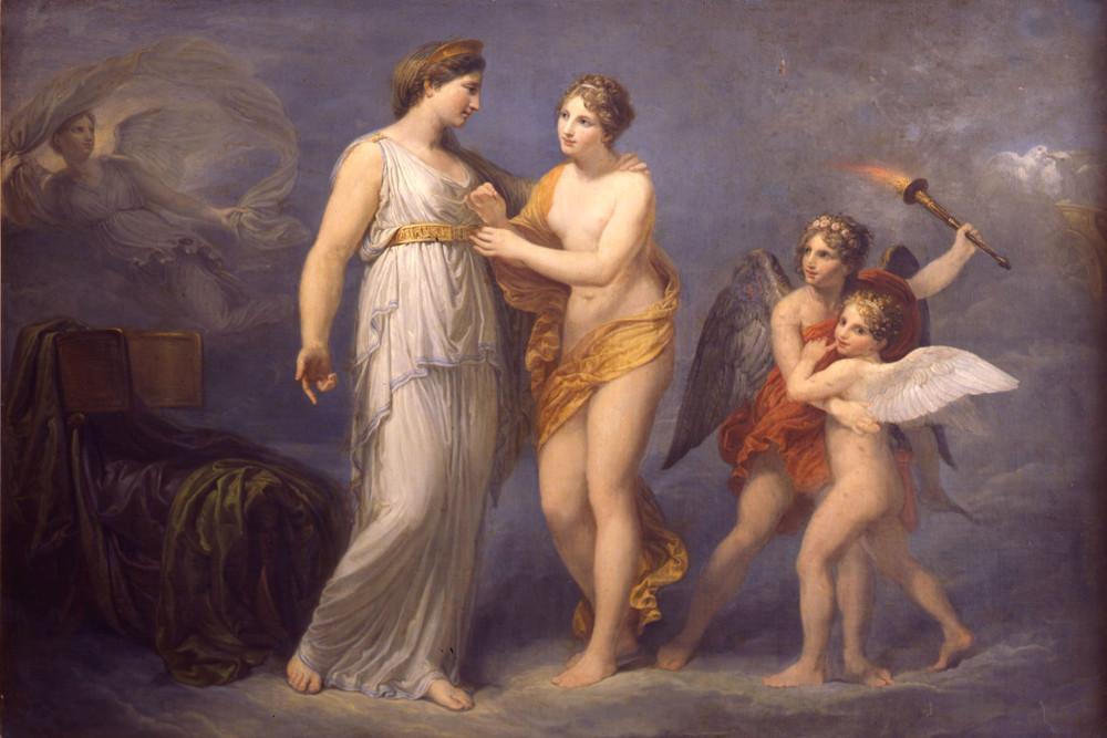 """Андреа Аппиани, """"Венера застёгивает пояс на Юноне"""", масло, холст, 102 x 147 см"""