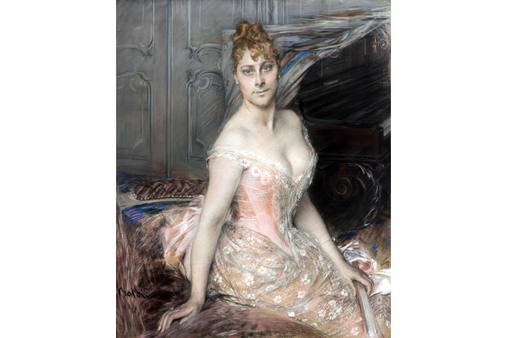 """Джованни Больдини, """"Портрет графини Витта"""", пастель, шёлк, 110x89 см"""