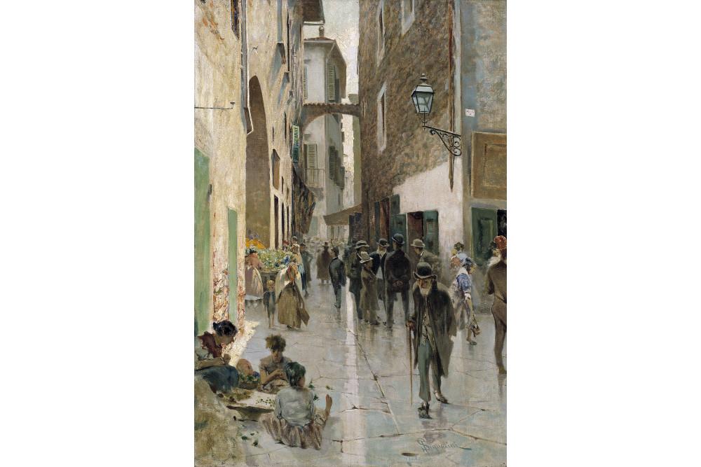 """Телемако Синьорини, """"Флорентийское гетто"""", масло, холст, 82x55 см"""