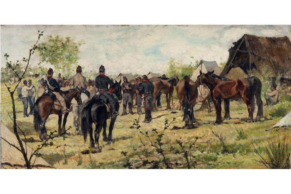 """Джованни Фаттори, """"Лагерь кавалеристов"""", масло, холст, 100x70 см"""