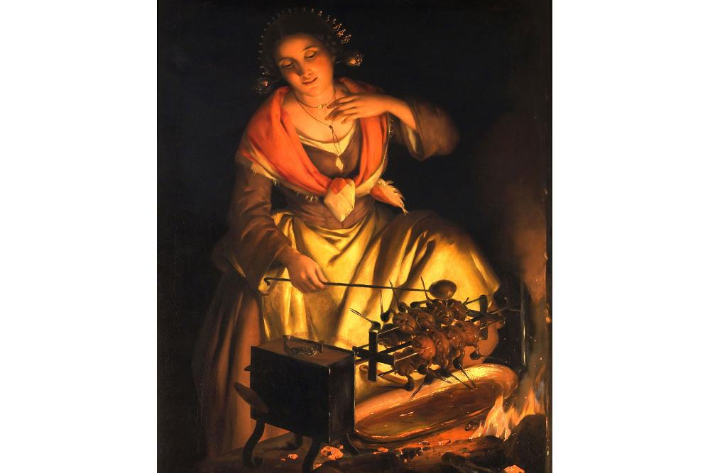 """Анджело Инганни, """"Женщина, готовящая на вертеле"""", масло, холст, 93x72 см"""